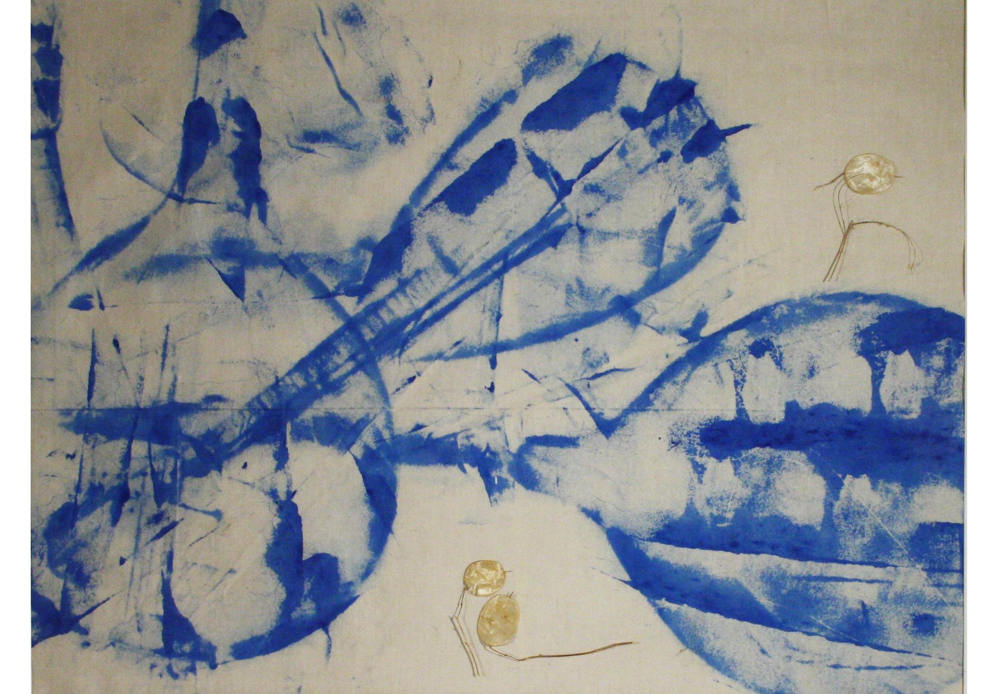 002-Magret-Döring-Lautenklang-Silberblatt---Acryl,-Frottage,-Assemblage-auf-Stoff