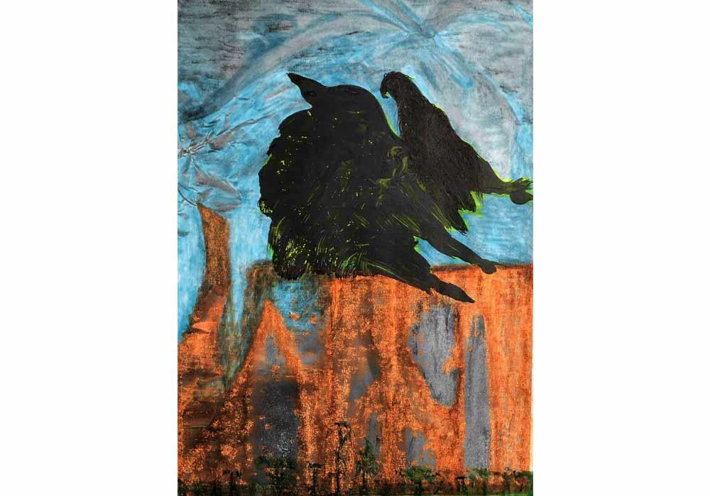 Segede Demissie - 2 mountain and birds 2 - Mt-Galerie