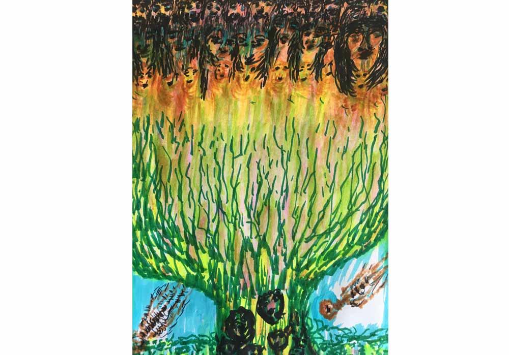 Segede Demissie - 4 faces in tree - MT-Galerie